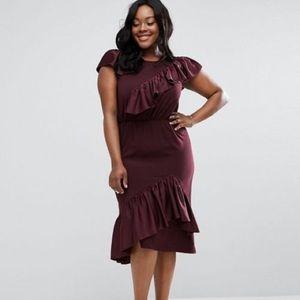 ASOS curve cute ruffle midi dress